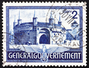 Postage stamp Poland 1941 Rondel and Florian's Gate