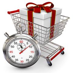 Einkaufswagen mit Geschenk und Stoppuhr