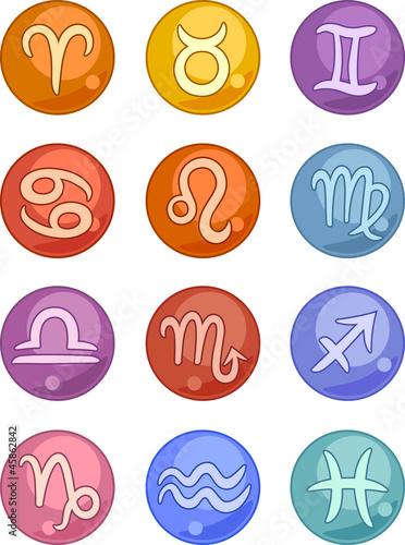 Zodiac horoscope signs icons