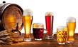 Beer barrel with beer glasses.
