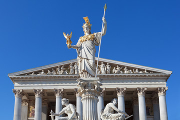 Athena in front of the Austrian Parliament in Vienna