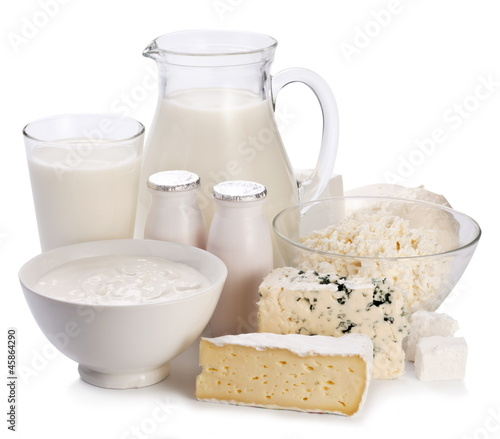 Dairy products on a white background.