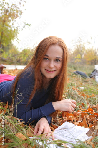 Redhead girl at outdoor