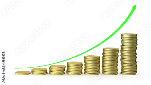 Graph rising with coins bars. Alpha mask. HD 1080.