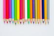 Colour pencils on white screen