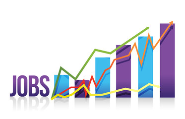 Jobs business color graph illustration design