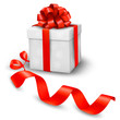 Red gift box with red ribbons. Vector illustration.