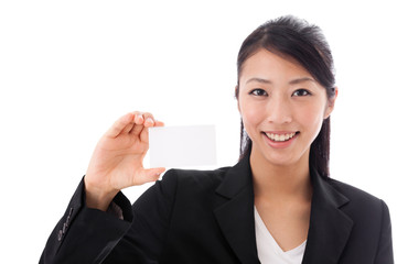 asian businesswoman holding name card