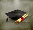 Graduation cap and diploma, old-style
