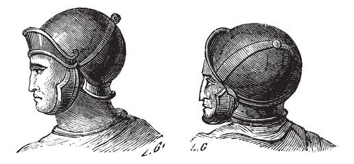 Legionary helmets vintage engraving