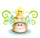 Whimsical Cute Kawaii Cartoon Duck in Mushroom poster