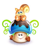 Whimsical Cute Kawaii Cartoon Chipmunk on Mushroom poster
