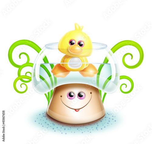 Whimsical Cute Kawaii Cartoon Duck in Mushroom