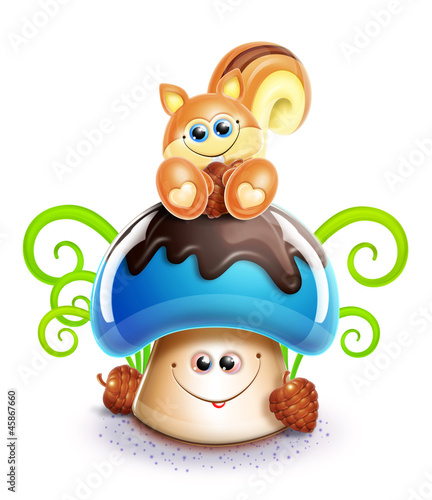 Whimsical Cute Kawaii Cartoon Chipmunk on Mushroom