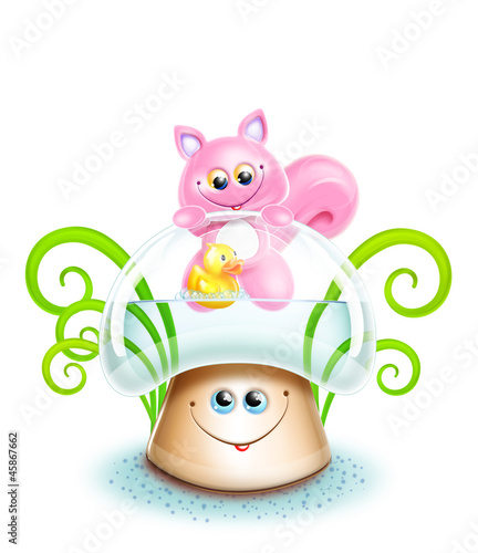 Whimsical Cute Kawaii Cartoon Cat on Mushroom