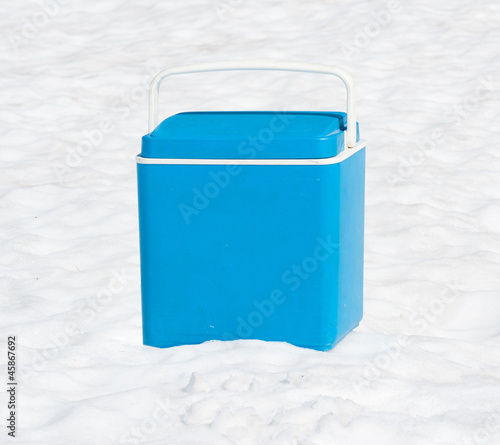 blue mobile fridge isolated on white