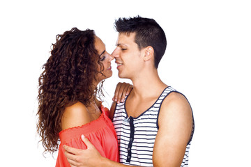 Young Casual Couple Kissing