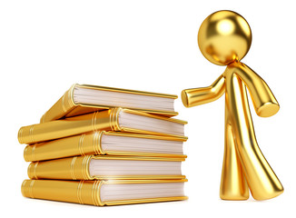Gold Man by Golden Stack of Books