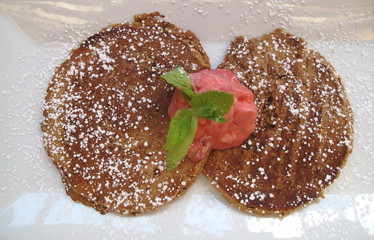 Breakfast  Hot buckwheat pancakes with fresh berry yogurt