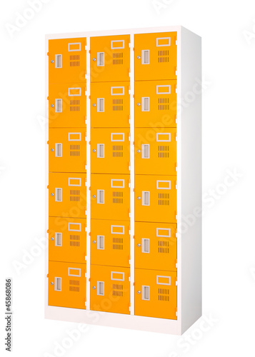Beautiful and colorful locker in bright orange color isolates