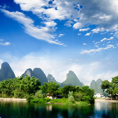 Beautiful Yu Long river Karst mountain landscape