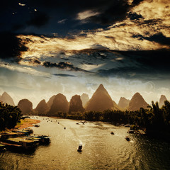 Sunset landscpae of yangshuo