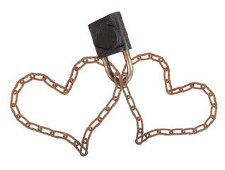 Two chain heart padlock