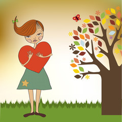 romantic young girl with big heart