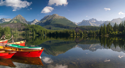 The colorful boats on Strbske lake in High Tatras,Slovakia