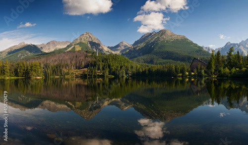 The panorama of Strbske pleso, lake in High Tatras