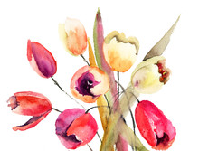 Tulipes fleurs, peinture aquarelle