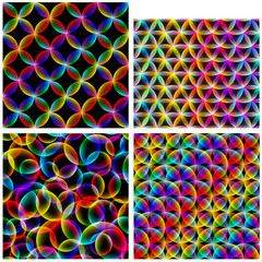 set of abstract colorful seamless backgrounds