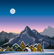 Winter landscape with snow houses and mountains