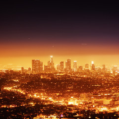 Los Angeles illuminated at night