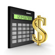 Calculator and golden sign of the dollar.