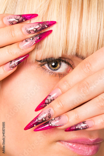 Beautiful blonde with a nice manicure