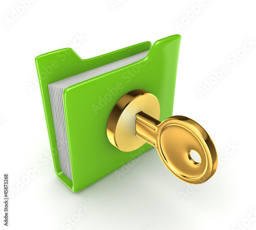 Golden key in a green folder.