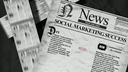 Social marketing success Newspaper headline animation
