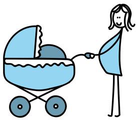 Schwangere mit Kinderwagen