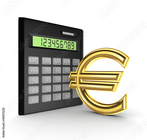 Calculator and golden sign of euro.