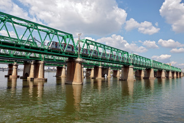 View of Hangang railway bridge with train