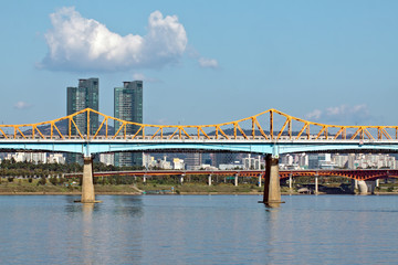 A bridge with a subway train over river in sunny afternoon