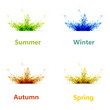 Set of four color season vector background or card
