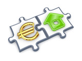 Merged puzzles with euro and home symbol. poster