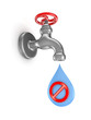 Iron tap, drop of water and stop symbol.