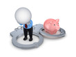 3d small person, handcuff and pink piggy bank.