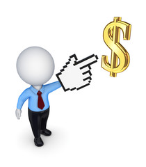 3d small person pointing to dollar symbol.
