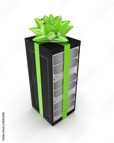 Green bow on a black server PC.
