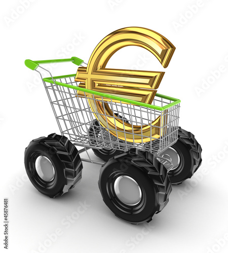 Euro sign in a shopping trolley.