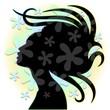 Hair Stylist Woman's Portrait with Flowers-Donna Coiffeur Logo